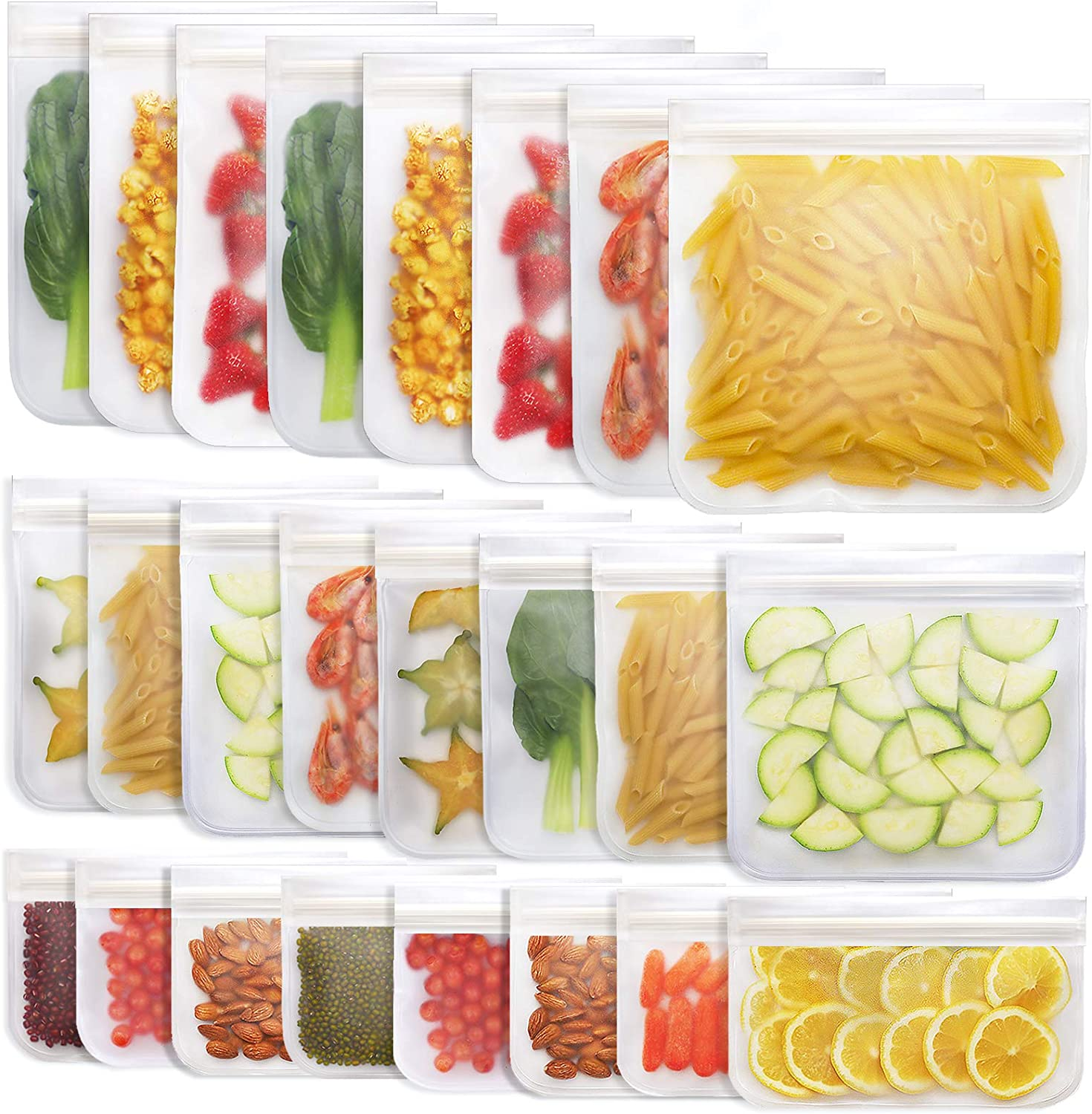 Jagrom 24 Pack Reusable Storage Bags 8 Gallon & 8 Sandwich Lunch Bags & 8 Small Kids Snack Bags For Food, EXTRA THICK Leak Proof Reusable Food Bags, Freezer Bags, Reusable Zipper Bags, BPA FREE, White