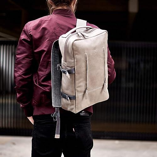 Amazon Com Capra Leather Laptop Backpack For Men Grey Travel
