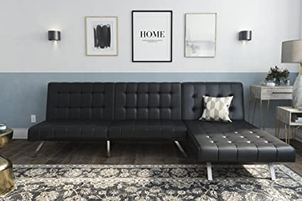 Amazon.com: DHP Emily Sectional Futon Sofa with Convertible Chaise ...