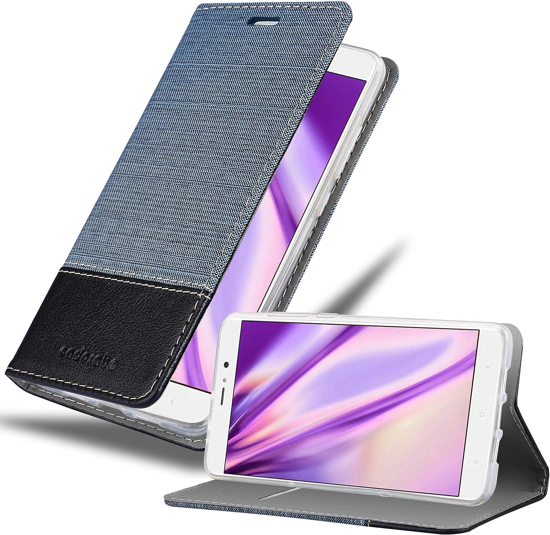 Cadorabo Funda Libro para Xiaomi Mi 5S Plus en Azul Oscuro Negro - Cubierta Proteccíon con Cierre Magnético, Tarjetero y Función de Suporte - Etui Case Cover Carcasa