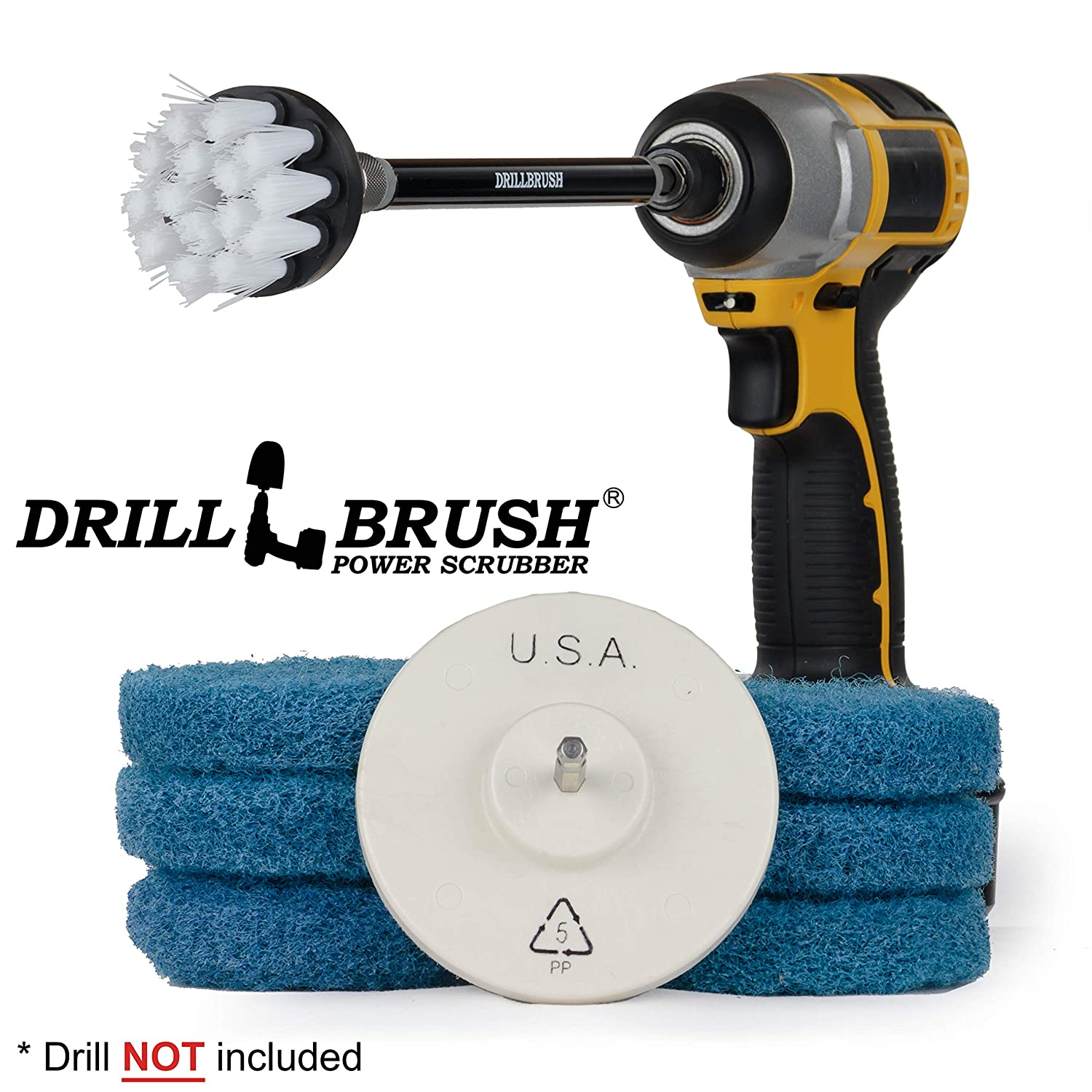 Cleaning Supplies - Kitchen Accessories - Drill Attachment - Drill Brush Power Scrubber Pads - Scrub Brush - Oven Cleaner - Stove Top Cleaner - Pots And Pans - Kitchen Sink - Hard Water Stain Remover