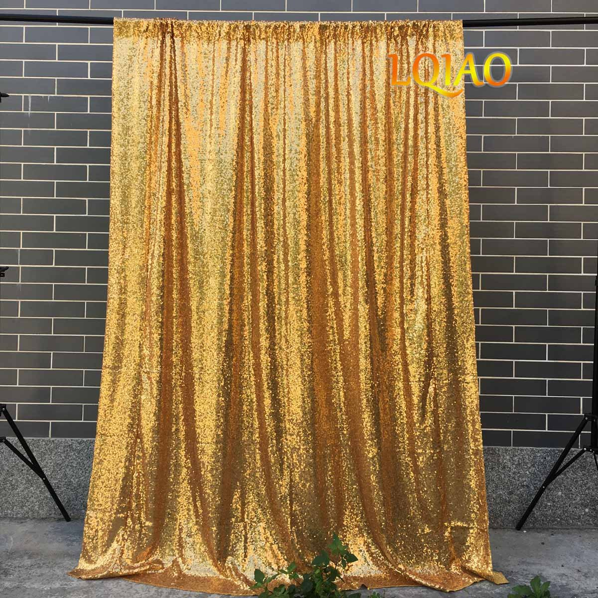 LQIAO 4FTX10FT Gold Shimmer Sequin Fabric Backdrops Wedding Photo Booth,Sequin Curtains,Drapes,Sequin Panels Photography Background Decoration by LQIAO