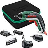 Bosch Cordless Screwdriver IXO V Full Set (Integrated Battery, 3.6 Volt, Angle Adapter, OffSet Angle Adapter, 10 Screwdriver Bits, Micro USB Charger Included, in Case)