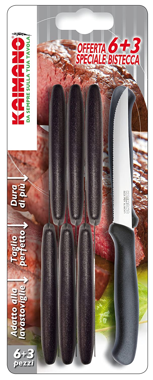 Kaimano Italian 6 Plus 3 Steak Knife, Stainless Steel, Black, 28 x 10 x 2 cm Fiskars KTS031409N