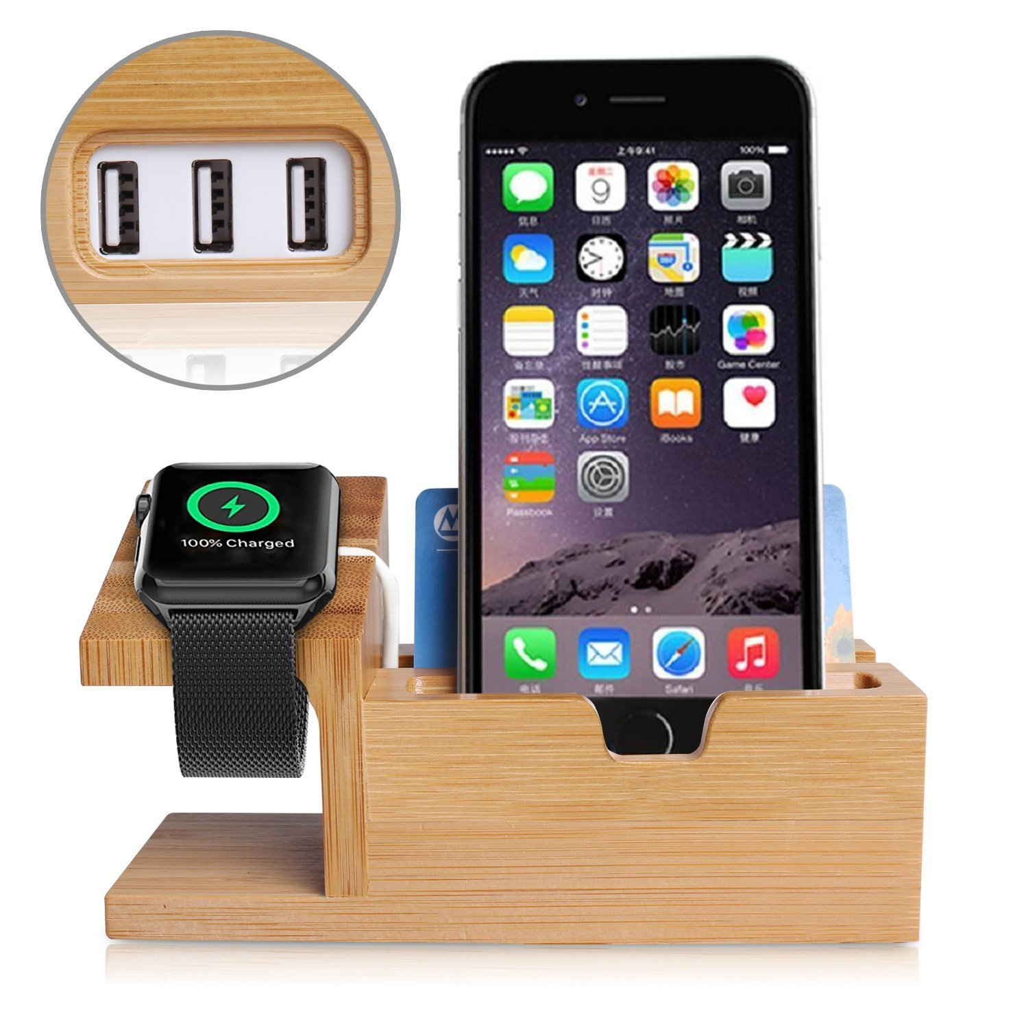 Apple Watch Stand,Phone Stand,Ptuna Bamboo Wood Charging for iPhone,Smart Phone,Apple Watch (Bamboo Wood-3 Ports)