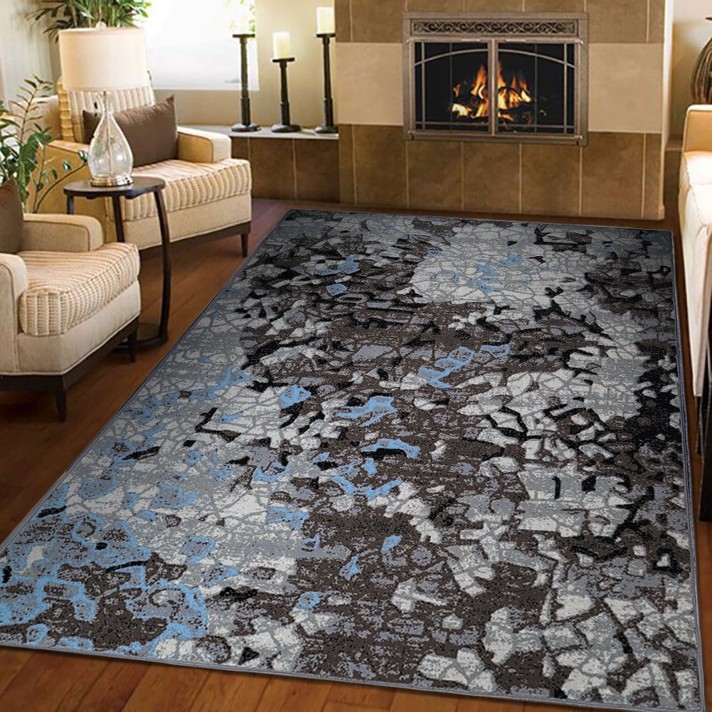 LOCHAS Glamour Modern Area Rug Bordered Design Non-Skid Backing Mat Rug, Perfect Size 5' X 7.5'