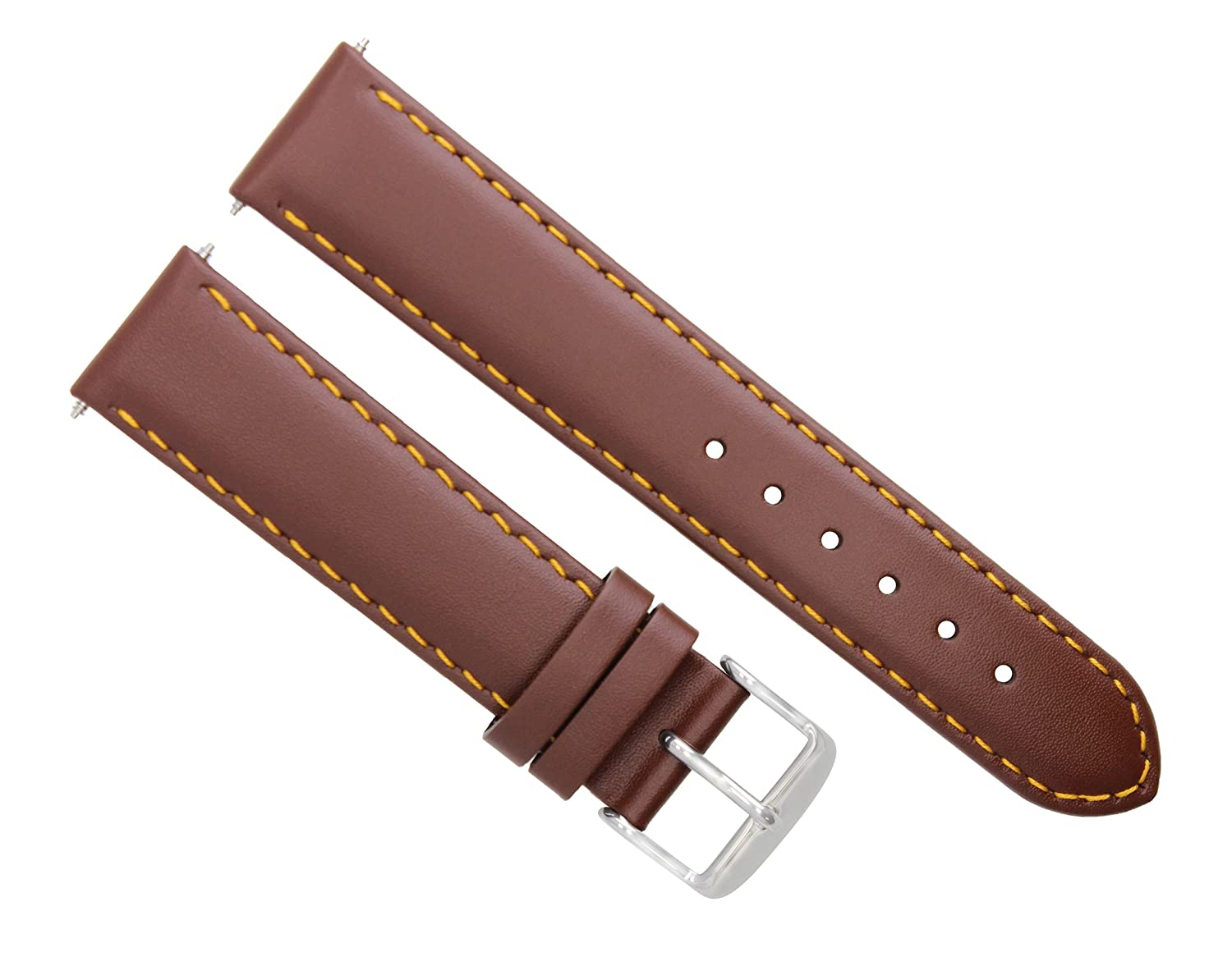 18 – 19 – 20 – 22 – 24 mmレザー腕時計バンドストラップSmooth for Seiko L/Brown # 4 18mm-18mm Light Brown with Orange stitching  Light Brown with Orange stitching 18mm-18mm B07FH7Y8P8