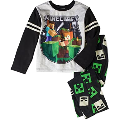 Minecraft Steve, Alex and Creeper, Skeleton Fight Thermal, Fleece Pajama Set (8