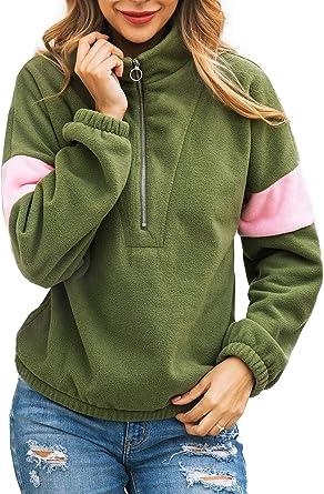 Women Long Sleeve Plaid Zipper Pockets Sweatshirt Soft Pullover Outwear Sweater Coat Tops with Pockets