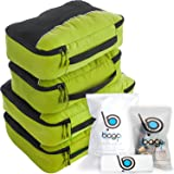 Packing Cubes 4pcs Value Set for Travel - Plus 6pcs Luggage Organizer Zip Bag