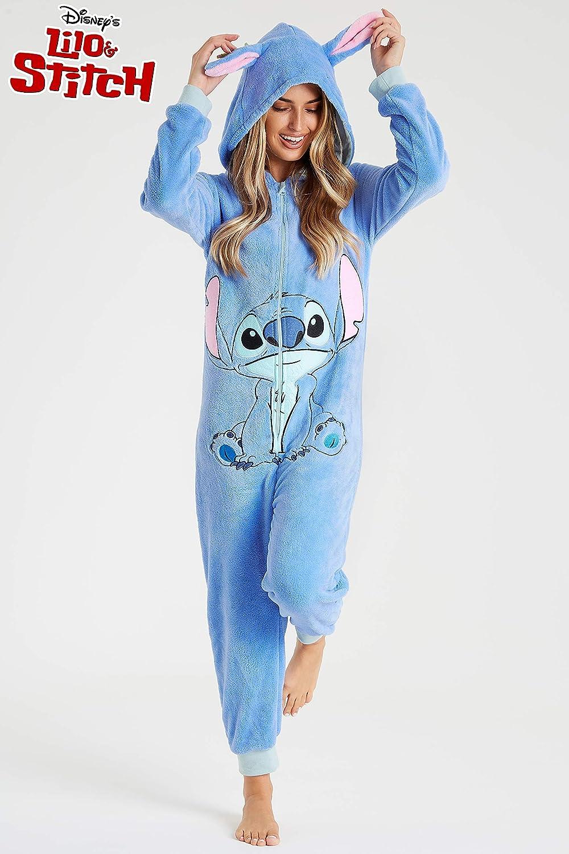 Winter Warm Sleepwear Kigurumi Pajamas Costumes Fluffy PJs Official Lilo and Stitch Onesies for Women Adult Unisex Cosplay Cartoon Animal Onesie Disney Stitch Onesie Ladies Pyjamas