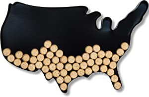 Decorative Metal Wine Cork Holder, USA Map Shaped Vino Cork Storage Holders, Easy Wall Mountable Hanging &Table Display for the Home, Kitchen, Bar Decor Accessory or a Unique Gift for Wine Enthusiasts