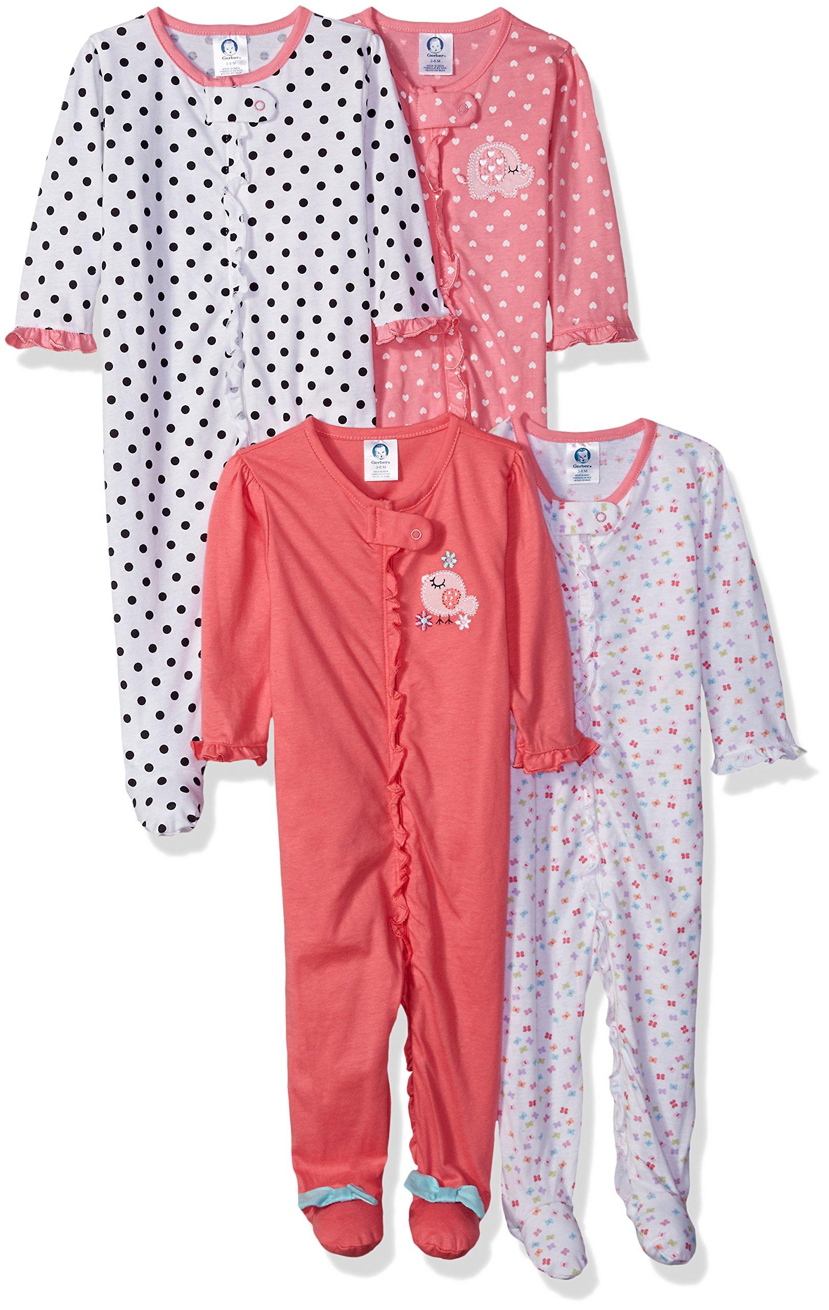 Gerber Baby Girls' 4 Pack Sleep 'n Play, Elephant/Birdie, 0-3 Months