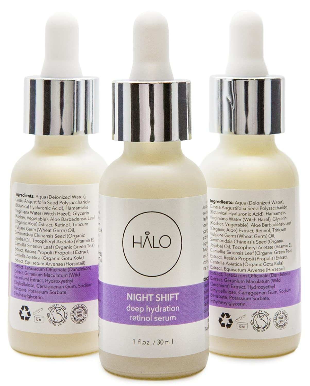 Clinical-Strength Retinol Serum  NIGHT SHIFT by HALO BEAUTY  With Organic  Vitamin E, Bee