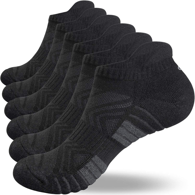 coskefy 10 Pairs Sport Performance Trainer Low Cut Socks for Men Women Cotton Rich Running Socks
