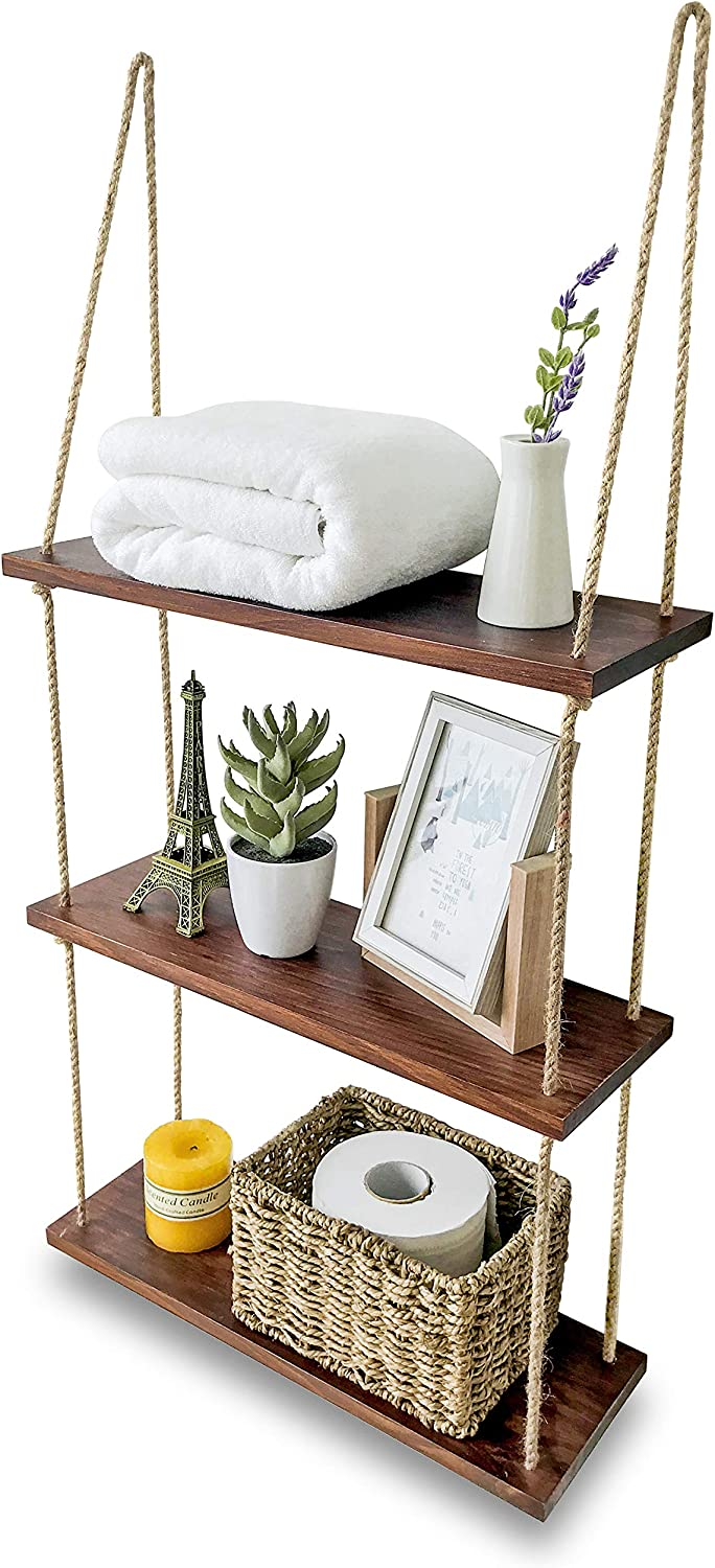 Asliny Hanging Shelf Wall Floating Swing Storage Shelves Jute Rope Durable Wall Shelves For Bedroom Living Room Kitchen Bathroom Shelves Over The Toilet Storage 3 Tier Shelf Brown