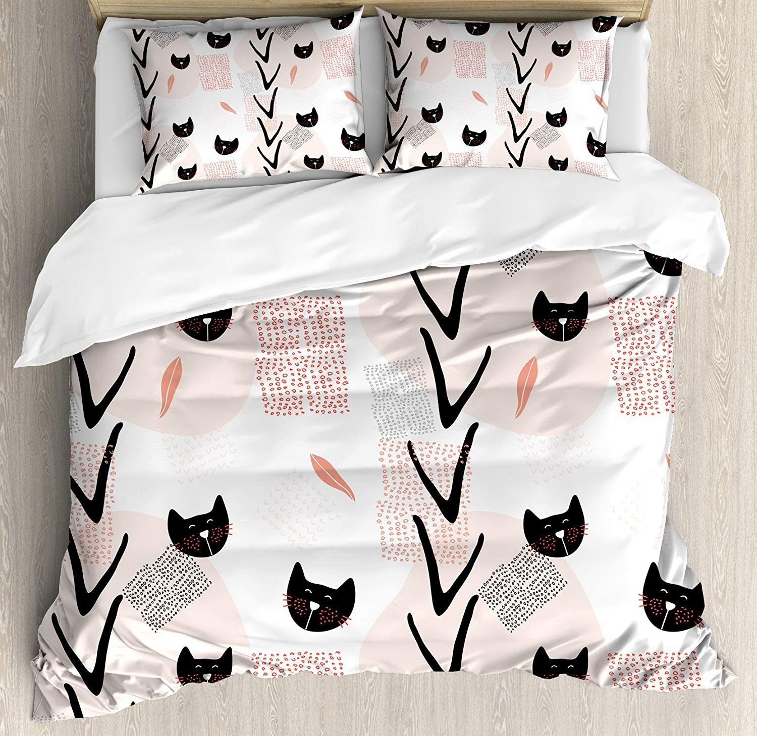 Twin XL Extra Long Bedding Set, Modern Duvet Cover Set, Cute Cat Faces with Dotted Whiskers Kittens Animals Kids Nursery Theme, Cosy House Collection 4 Piece Bedding Sets by Prime Leader