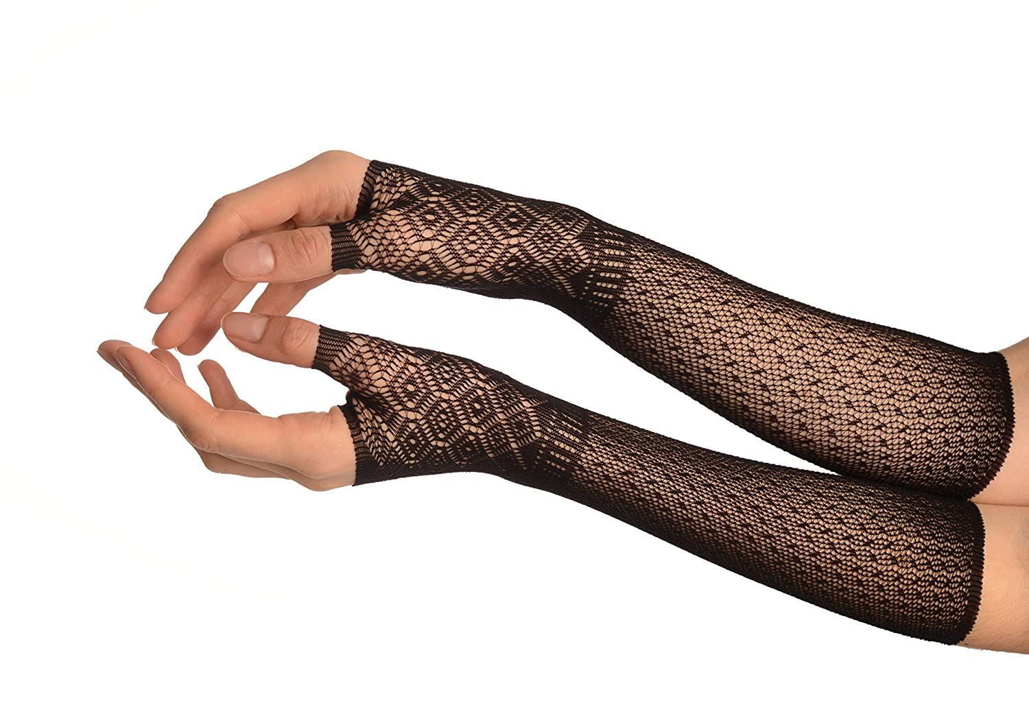 Black Stretchy Crochet Lace Fingerless Evening Gloves - Gloves GL002709