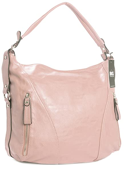 Big Handbag Shop Womens Plain Zip Effect Large Shoulder Bag