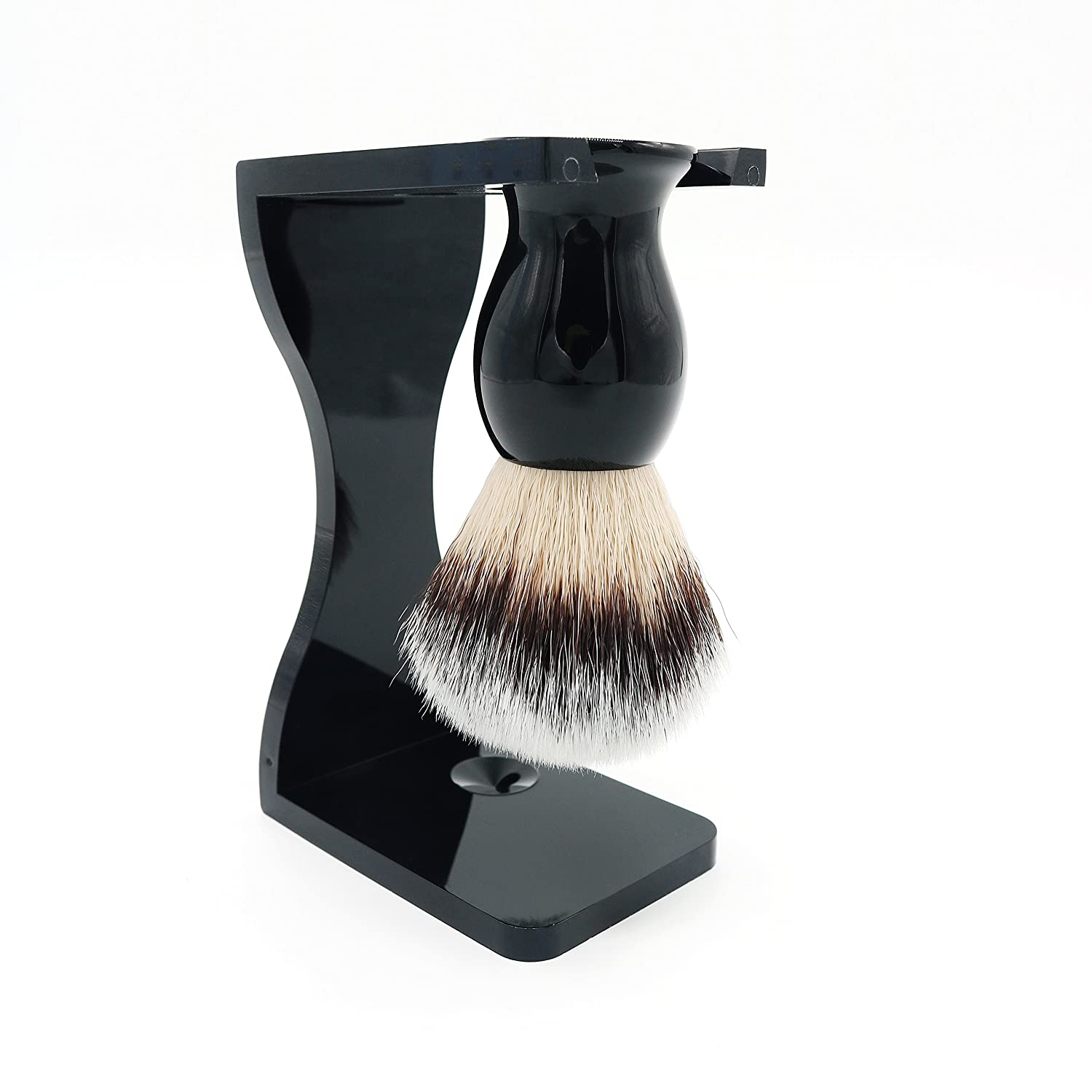 Shaving Brush Set with Black Acrylic Handle and Black Acrylic Shaving Stands by JDK JDK Makeup