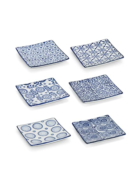 Set of 6 Assorted Small Porcelain Blue u0026 White Square Appetizer Canape Plates  sc 1 st  Amazon.com & Amazon.com | Set of 6 Assorted Small Porcelain Blue u0026 White Square ...