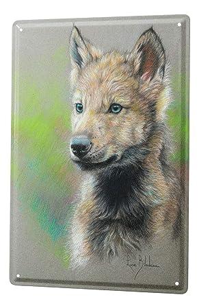 Blechschild Küche Zeichnung Wolf Welpe