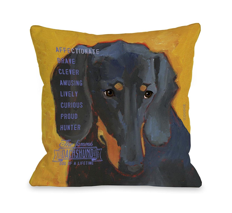One Bella Casa Daschund 3 Throw Pillow, 20 by 20-Inch