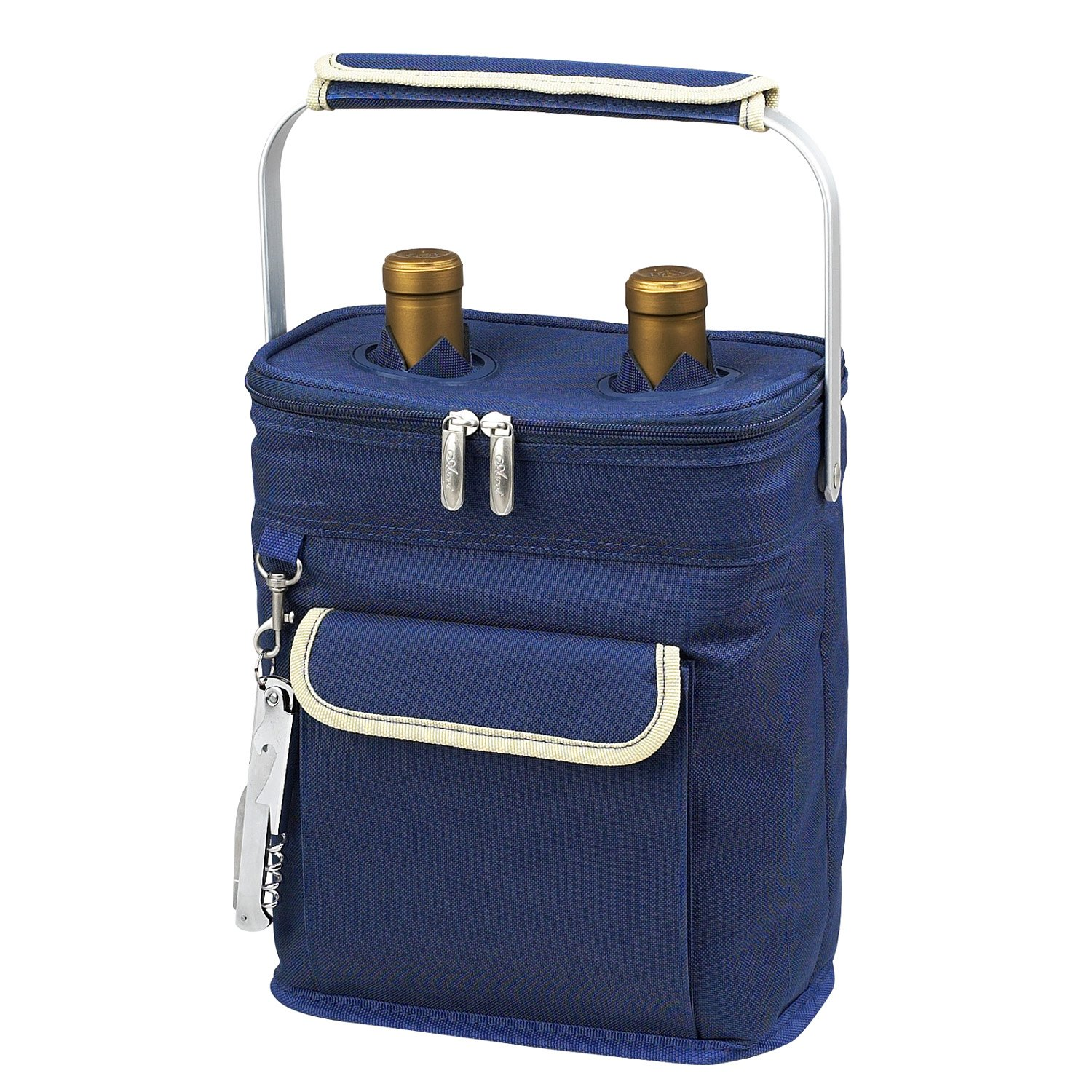 Picnic at Ascot 2 Bottle Insulated Wine Tote Collapsible Multi Purpose Cooler, Blue/Cream