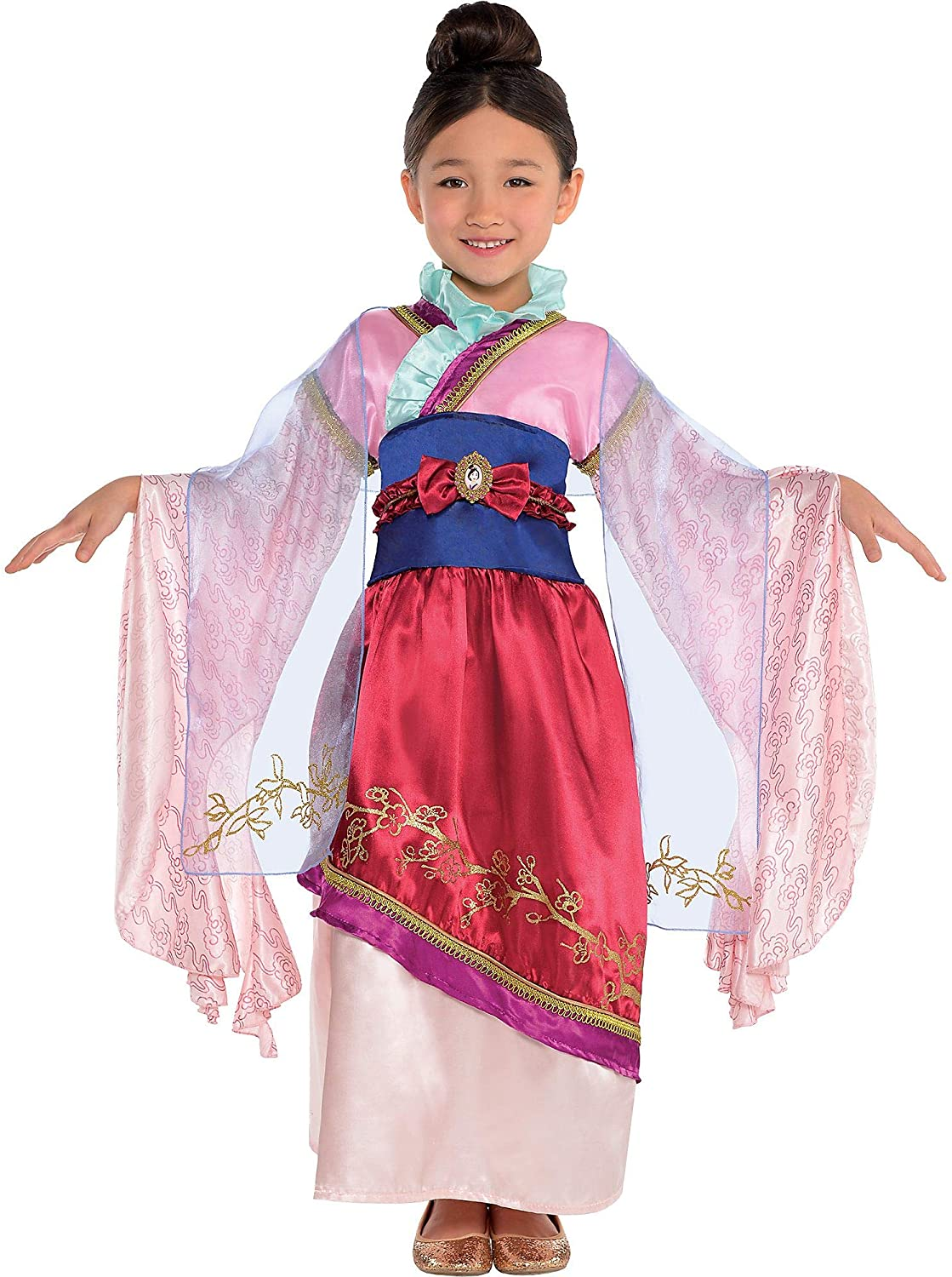 Mulan Costume Classic for Girls, Dress, Attached Belt, and Sash