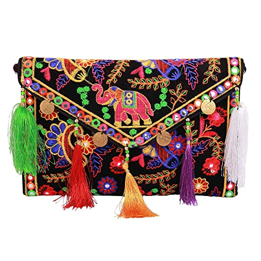 fcffd7ba16 Lonika Collections Hippie Handmade Elephant Sling Bag Foldover Clutch Purse  For Women Black