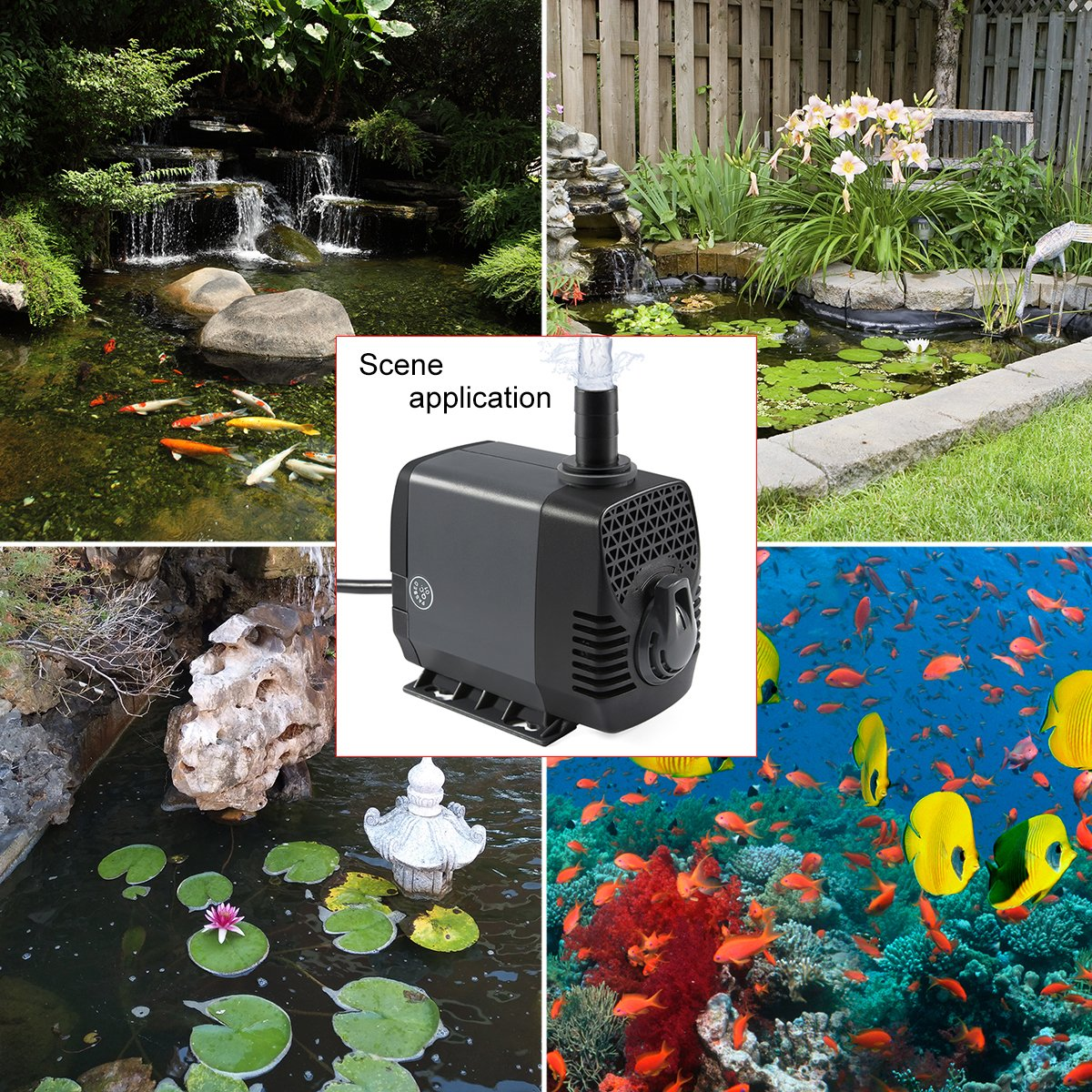 Ankway Upgraded 660GPH(2475L/H, 40W) Submersible Water Pump Humanized Rotation Switch with 3 Nozzles for Pond, Aquarium, Fish Tank Fountain Water Pump Hydroponics, with 5.9ft (1.8M) Power Cord by Ankway (Image #7)