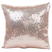 JOTOM Decorative Throw Pillow Cover, Sequin Cushion Cover for Couch Sofa Bed 16'' x 16'' (Light pink)
