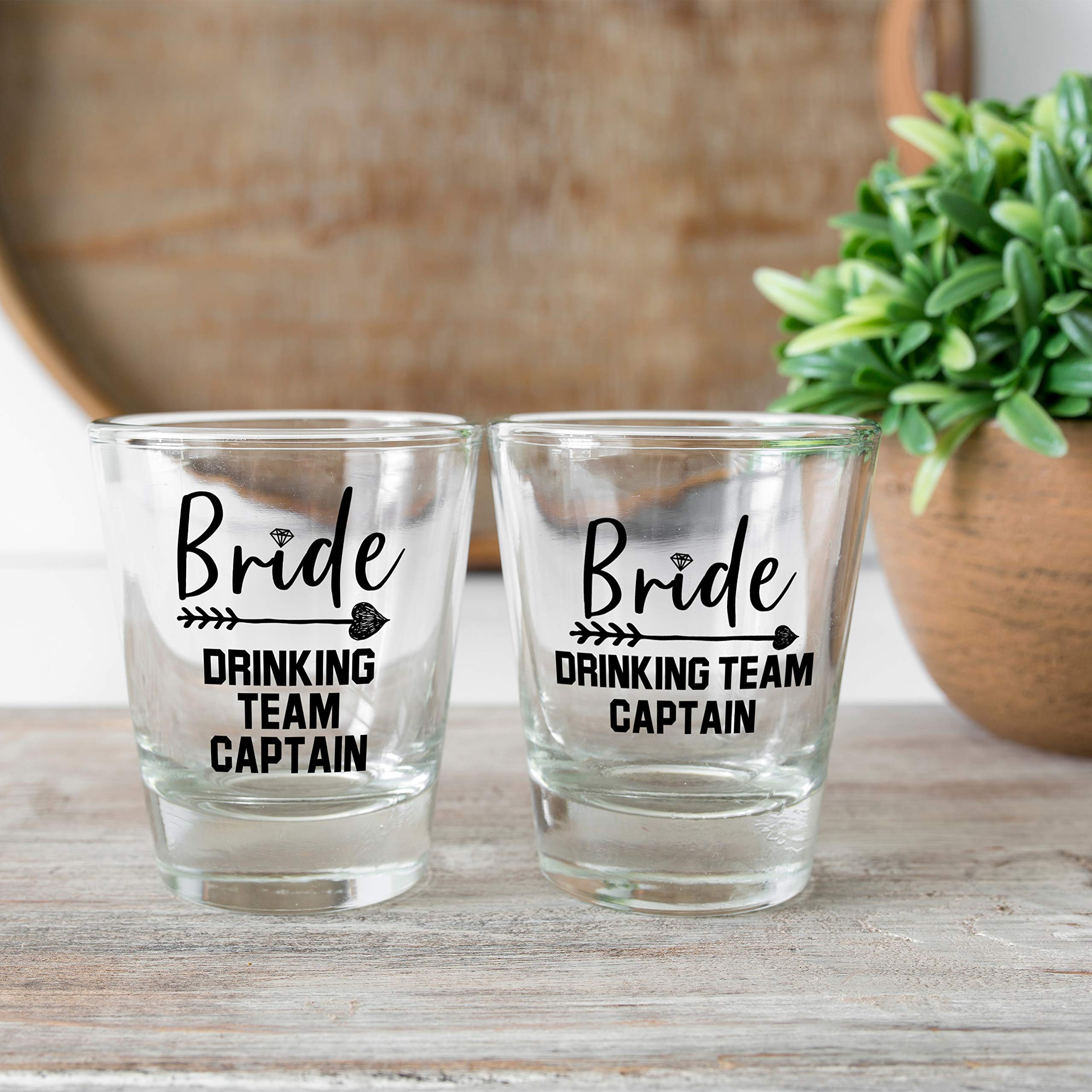 Bridesmaid Gifts Bride's Drinking Team Shot Glasses - Pack of 6 Bride's Drinking Team Member + 1 Bride's Drinking Team Captain - 1.5 oz - Bachelorette Party Favors by USA Custom Gifts (Image #2)