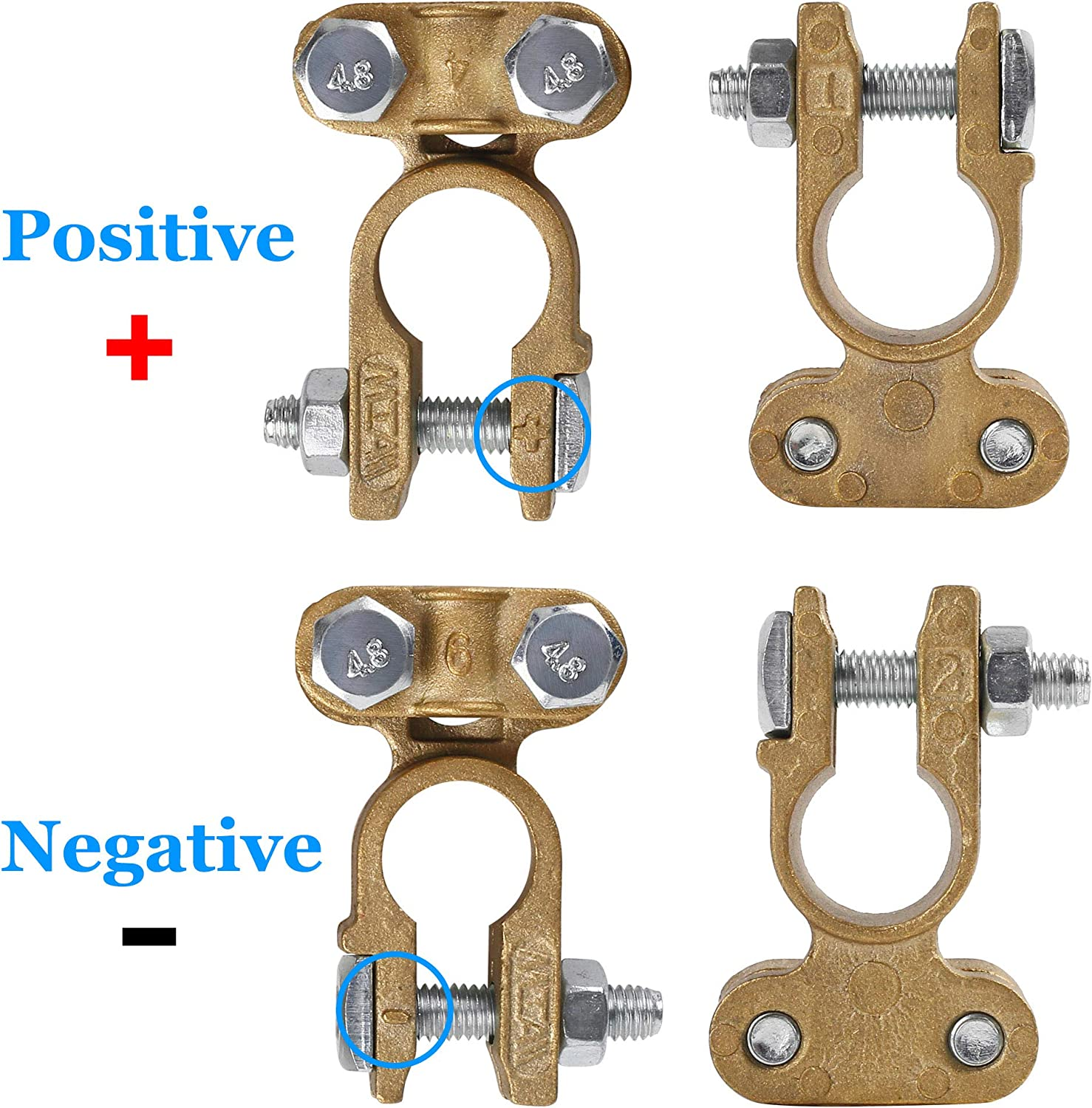 LotFancy Battery Terminal Connectors Clamps Set 1 Pair Positive /& Negative Brass Battery Terminal Adapter Top Post for Marine Ship Boat Camper Truck Car Vehicle