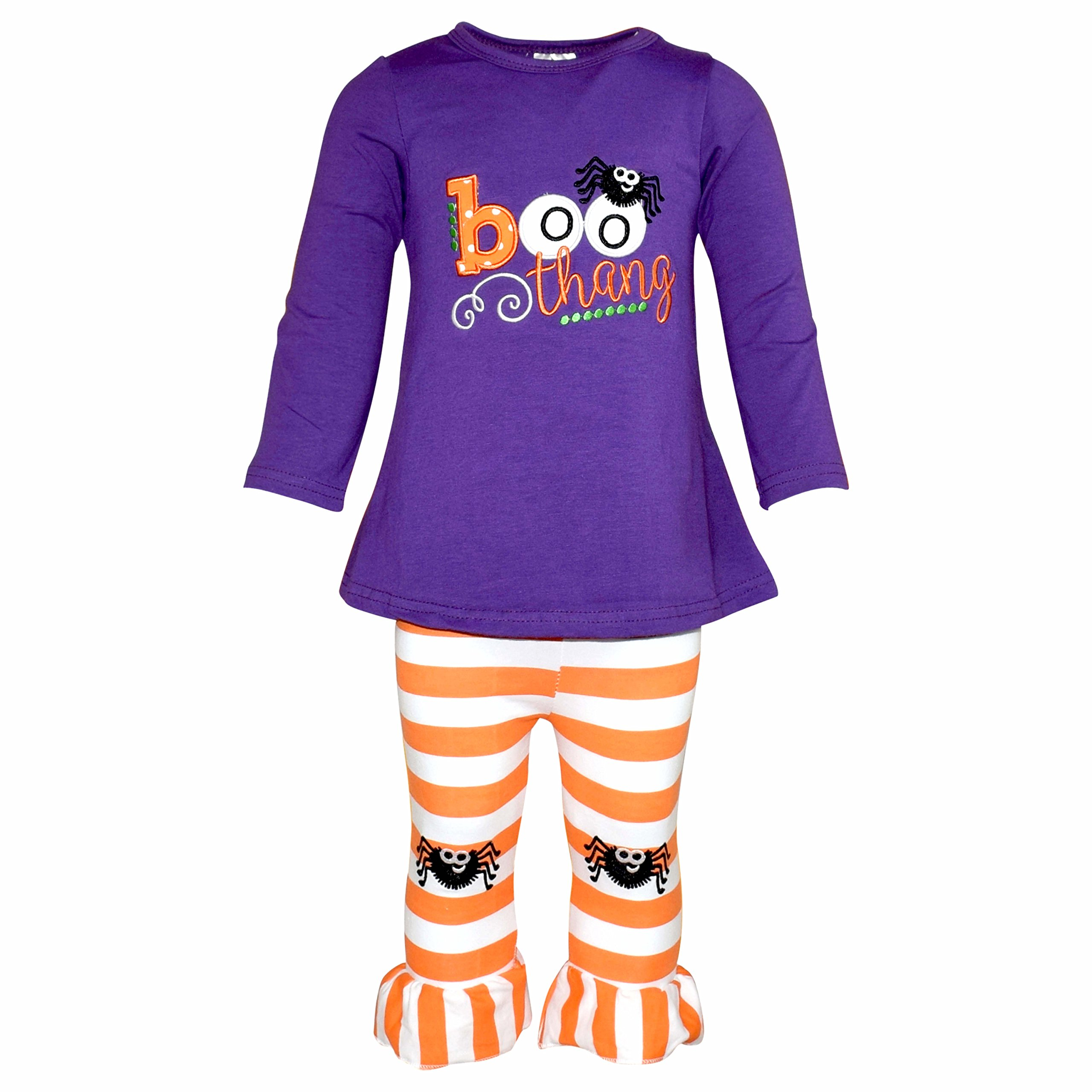 Unique Baby Girls Boo Thang Halloween Outfit with Spider Leggings (6/XL, Purple)