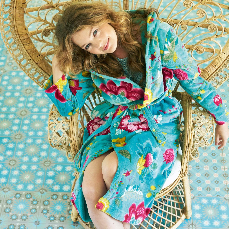 PipPip Bademantel Design Floral Fantasy  Farbe Light Petrol M