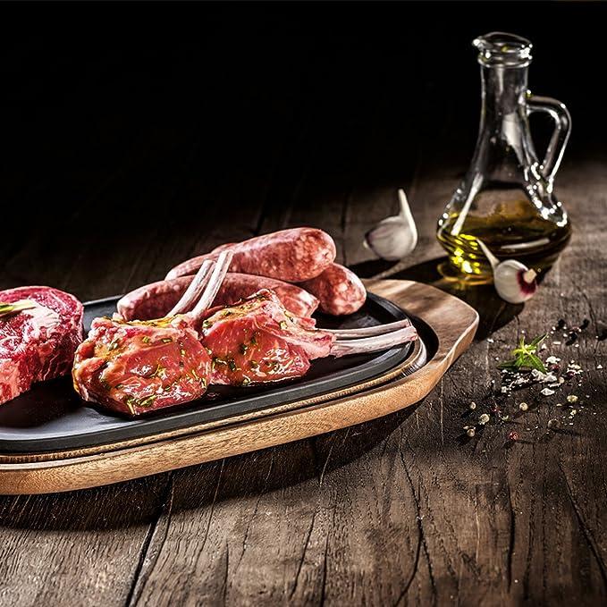 Villeroy & Boch BBQ Passion Plato para comida fría y caliente, 2 piezas, Porcelana Premium/Madera de acacia: Amazon.es: Hogar