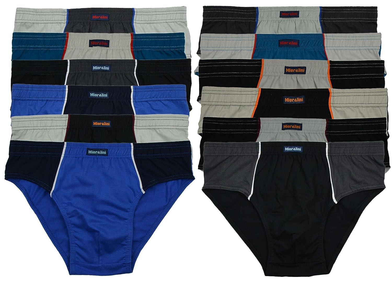 12 oder 6 weiche 100% Baumwolle Herren Sport Slips in schönen  Farbkombinationen und Muster mit und ohne Eingriff 12er 6er Spar Pack Slip  Herrenslip Jungen ...