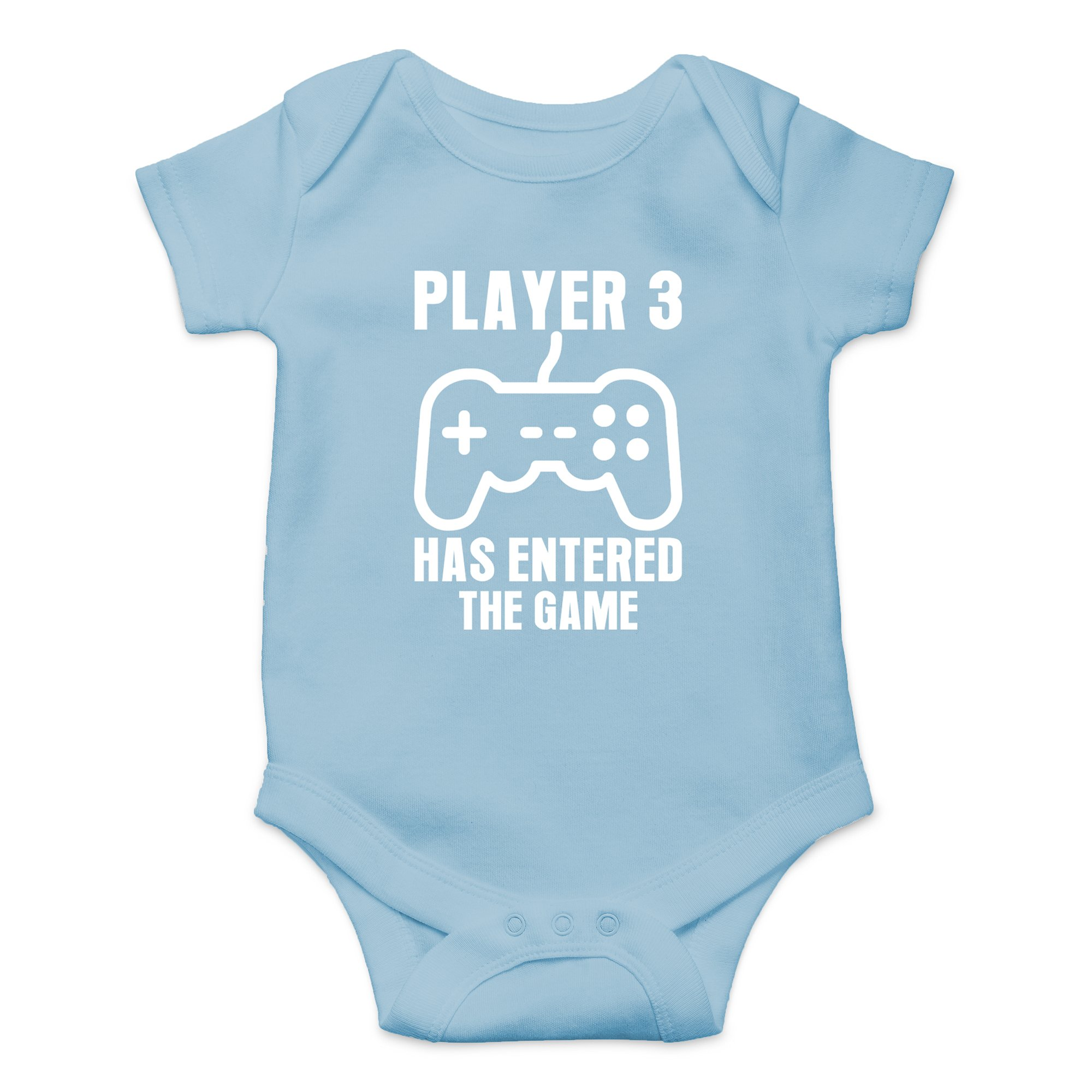 Crazy Bros Tees Player 3 Has Entered The Game - Gamer Baby Funny Cute Novelty Infant One-Piece Baby Bodysuit (6 Months, Light Blue)