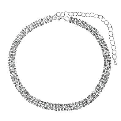 de92831d0d Amazon.com: Paxuan Luxury Womens Clear Rhinestone Crystal Silver ...