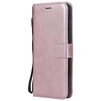 DENDICO Funda Galaxy S8 Plus, Flip Libro Cuero Carcasa, Diseño Clásico Funda Plegable Cover para Samsung Galaxy S8 Plus - Rosa