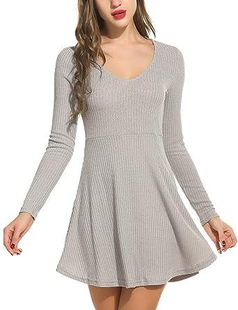bea5d884328 bubblebelle Women s Tunic Sweater Dress Long Sleeve Flowy A Line Knit  Dresses Grey L
