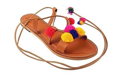 73f243b102b40a Beauty Craft Multi Color Pom Pom Designer Sandal Flat for Women s Girls ...