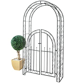 Tür metall  Rankbogen Garten Rosenbogen mit Tür Metall schwarz ca. 2,30 m hoch ...