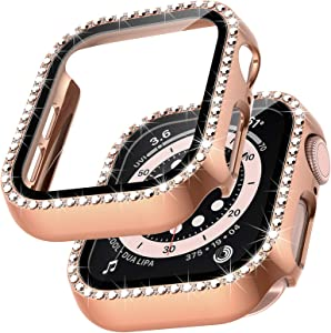 TOCOL 2 Packs Case Compatible with Apple Watch Series 6/5/4 44mm and Apple Watch SE 44mm with Built-in Tempered Glass Screen Protector, Bling Crystal Diamond Face Cover for iWatch 44mm - Rose Gold