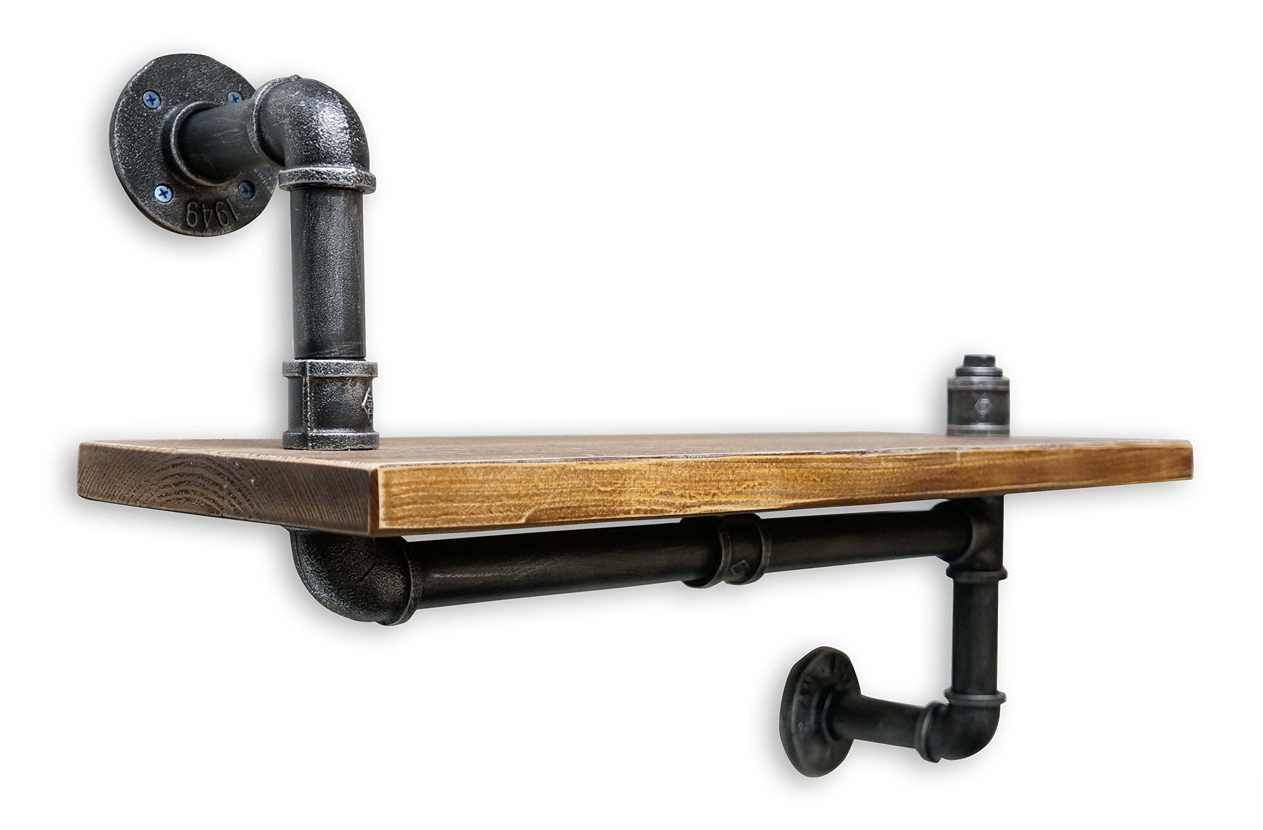 NACH Qa-1032 Diy Industrial Style Asymmetrical Silver Brushed Black Pipe and Single Rustic Modern Wood up Down Shelf, 24'' x 9.8'' by NACH (Image #2)