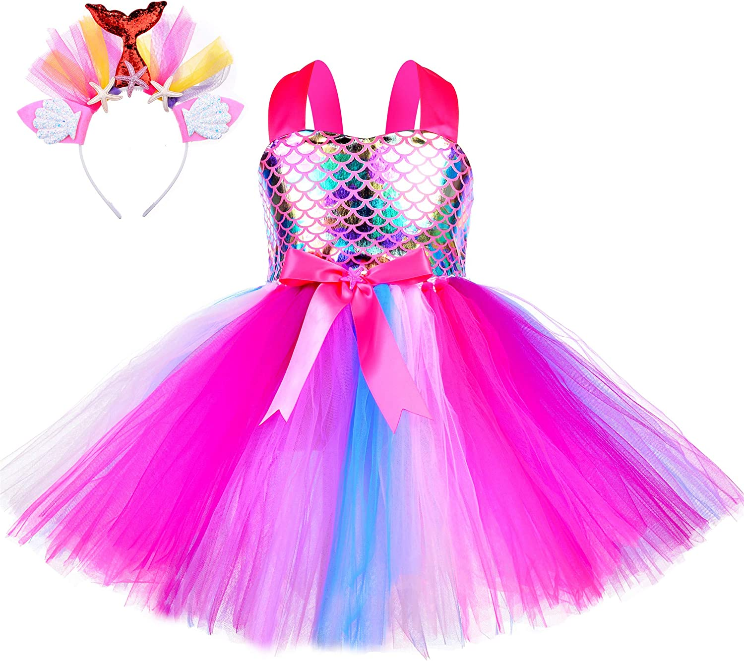 Amazon Com Little Mermaid Tutu Dress For Girls Halloween Birthday Party Princess Costume Outfit Tulle Kids Dresses Clothing