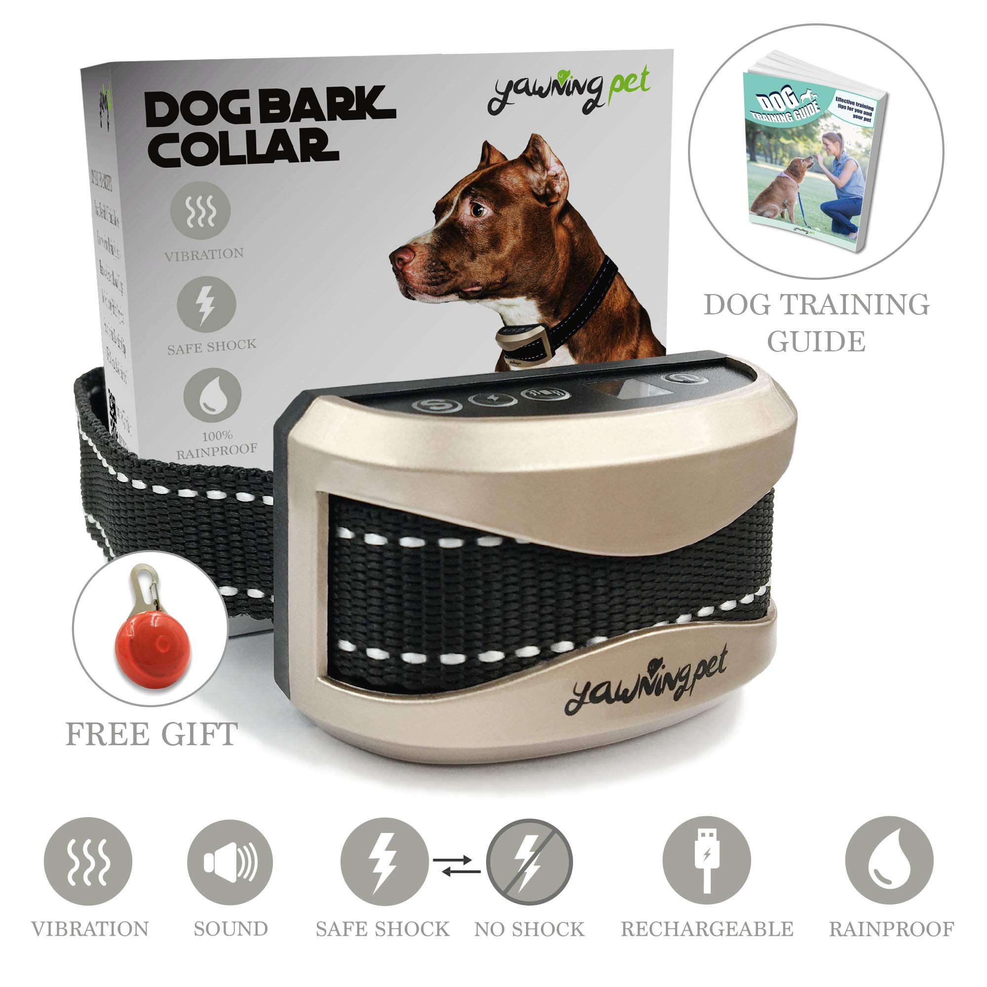 No Bark Shock Collar Anti Bark Electric Training Collar for Dogs Small Medium Large |Waterproof |USB Rechargeable| Vibration, Shock & Beep| Automatic Smart Protection