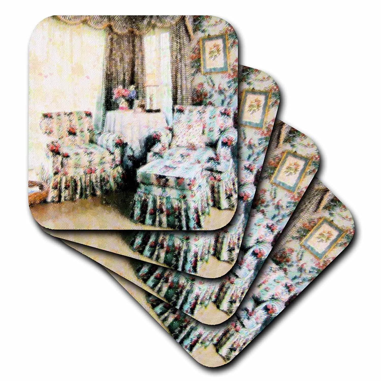 Set of 4 3dRose cst/_21040/_3 My Country Room Ceramic Tile Coasters