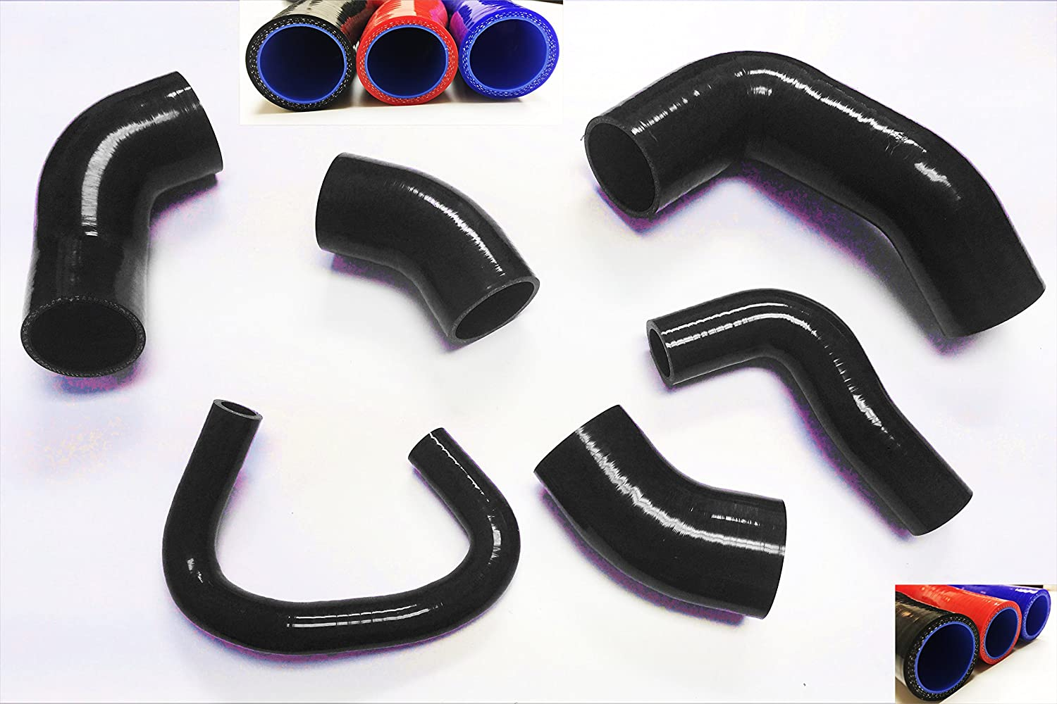 Black 2001 2002 2003 2004 2005 2006 Mitsubishi Lancer EVO 7 8 9 VII VIII IX with 4G63T Turbocharged Engine Silicone Intercooler Turbo Boost Hose Kit 6pcs with Clamps
